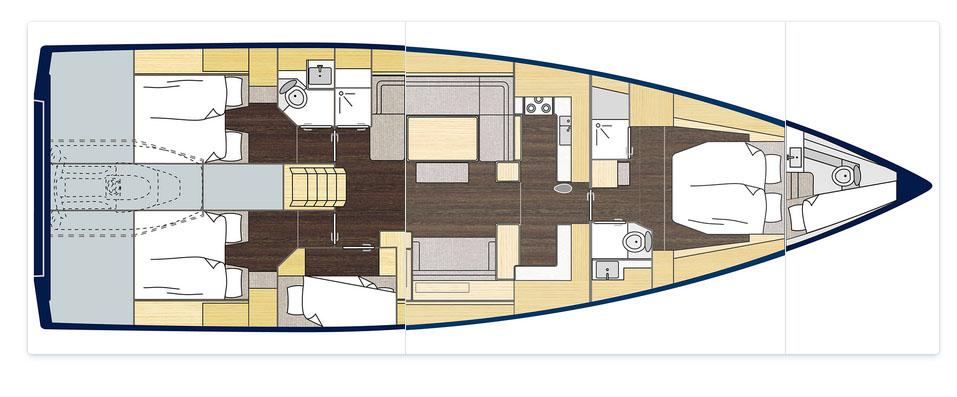 Sailing Boat Bavaria C57 - Layout