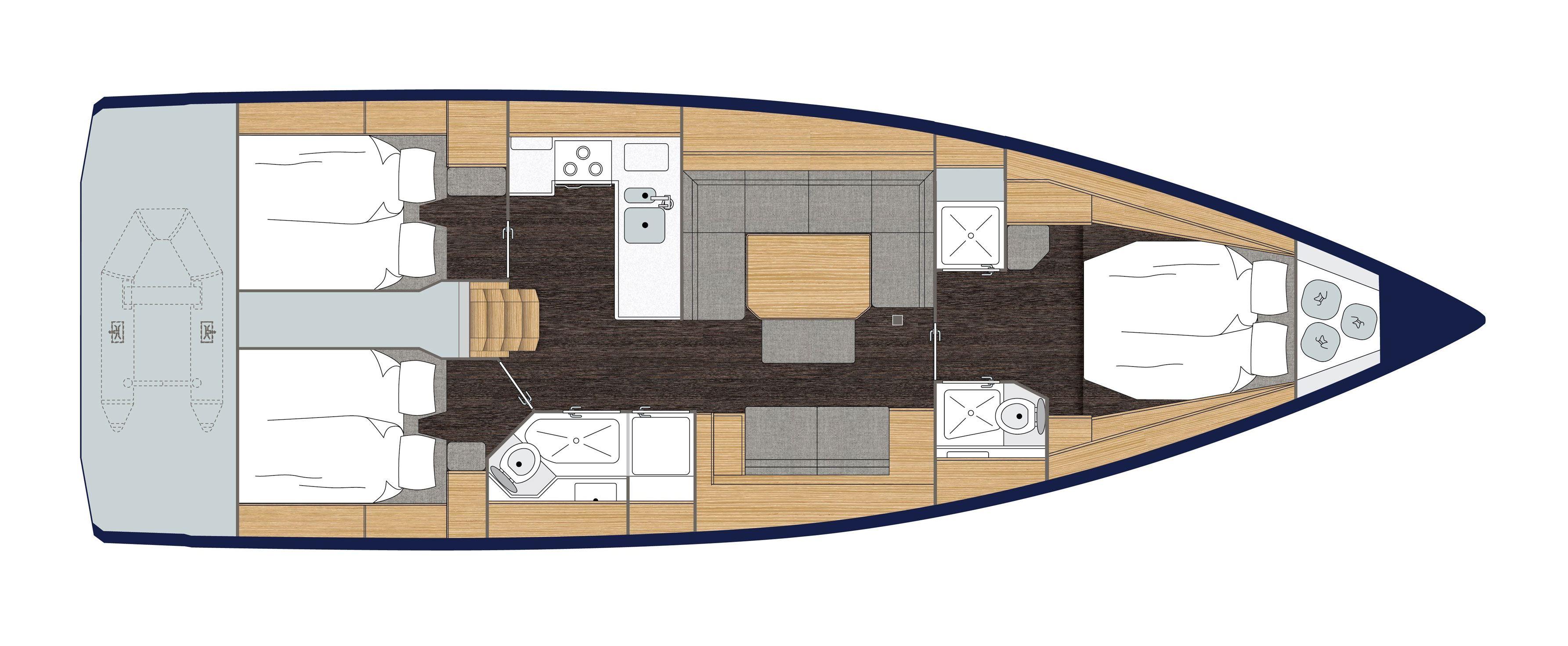 Bavaria C45 cabins